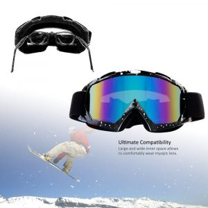 4-FQ Motorcycle Goggles Dirt Bike Goggles, Motocross Goggles, Windproof Dustproof Scratch Resistant Ski Goggles Protective Safety Glasses, PU Resin (Color Lens Marble Black Frame)