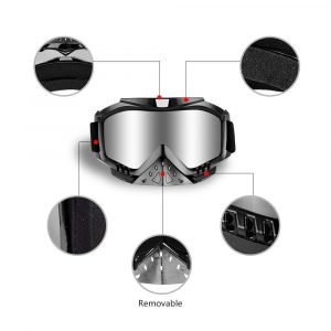 Dmeixs Motorcycle Goggles, Dirt Bike Goggles Grip For Helmet, Anti UV Windproof Dustproof Anti Fog Glasses for ATV Off Road Racing with Cool Look Headwear, Silver Lens, 2 in 1