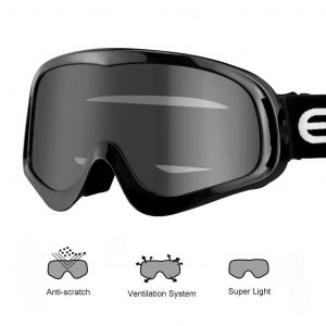 Enkeeo Motorcycle Goggles Anti-Scratch Cycling Googles Dust Proof Bendable Eyewear with Padded Soft Foam, Adjustable Strap for Adults' Cycling Skiing Climbing Shooting (Grey Lens)