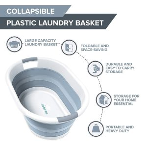 Homeries Collapsible Laundry Basket, Plastic Folding Pop-Up Bin, Perfect for Storage, Decorative Space Saving Organizer for Laundry, Toys and More.