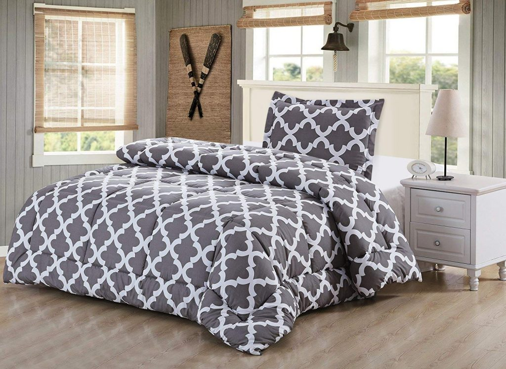 Utopia Bedding Printed Comforter Set (Twin, Grey) with 2 Pillow Shams