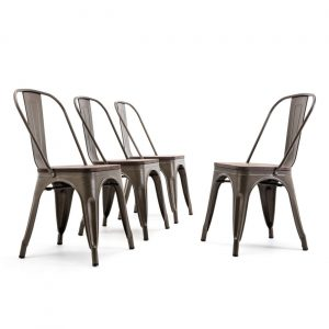 Belleze Bistro and Cafe Dining Chairs with Very Modern Styling in Metal Industrial Finish (Set of 4)