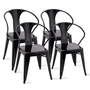 Costway Tolix Styled, Chic Metal Dining Chairs with High- Back (Set of 4)