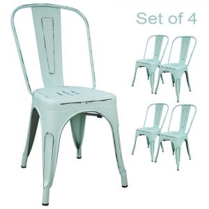 Devoko Metal, Distressed Style Dining Chairs (set of 4)