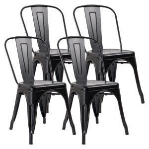 JUMMICO Dining Chair Metallic Vintage Style (Set of 4)