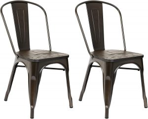 Pioneer Square's Beja Wooden Seat Metal Dining Chair, Set of 2