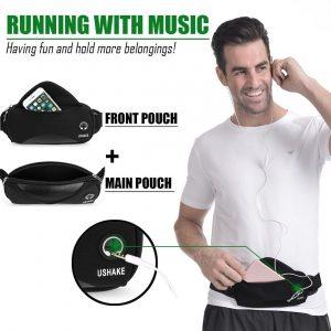 Ushake Running Belt with Extender Belt, Bounce Free Pouch Bag