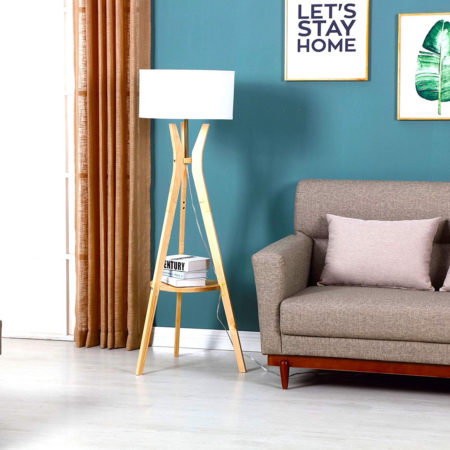 Brightech Charlotte: Rustic Shelf LED Floor Lamp