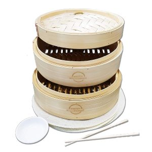 Mister Kitchenware 10 Inch Handmade Bamboo Steamer, 2 Tier Baskets,