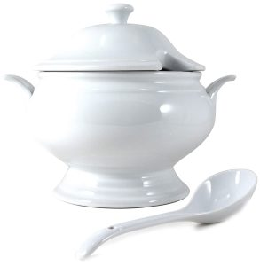 Omniware White Porcelain Covered Soup Tureen with Ladle