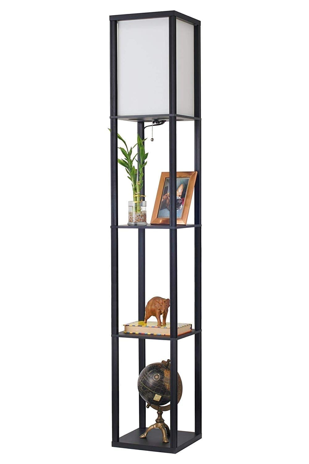 Revel Toro Modern Wood Floor Lamp with Shelves by Kira Home