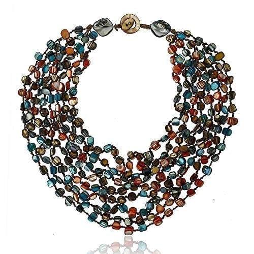 Gem Stone King Multistrand Shell Necklace for Women