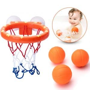 IJUSTBY Bath Toy Basketball Hoop & Balls Set