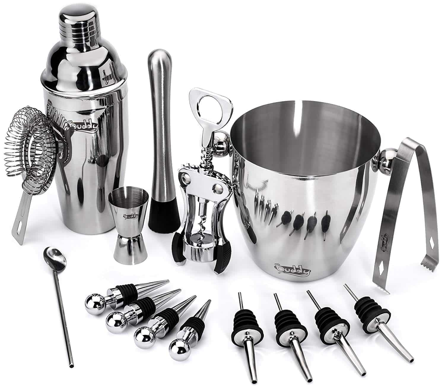 Buddy 16-Piece Wine and Cocktail Mixing Bar Set with Ice bucket