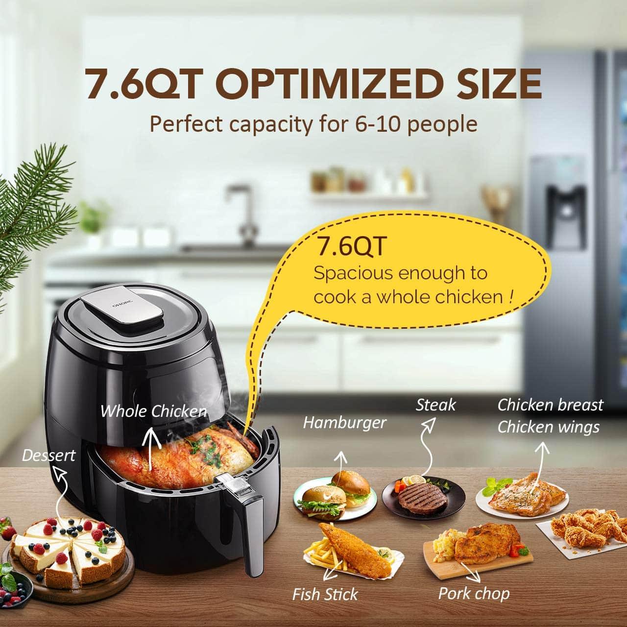 Innsky 5.8QT 1700W Electric Stainless Steel Air Fryers Oven Oil... Air Fryer XL