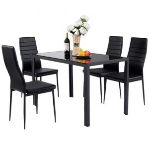 Giantex 5 Piece Kitchen Dining Table Set with Glass Table Top