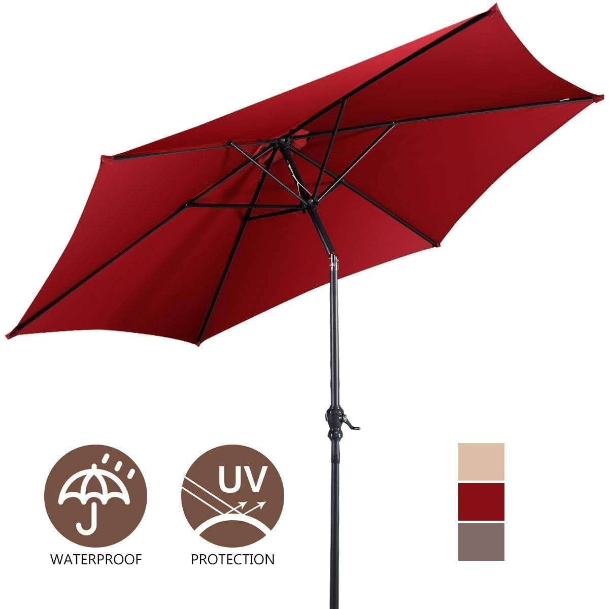 Giantex Large Patio Umbrella With Crank And Tilt Adjustment