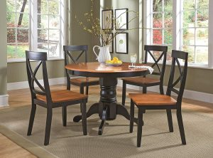Home Styles Cottage Black/Oak Round Dining Set
