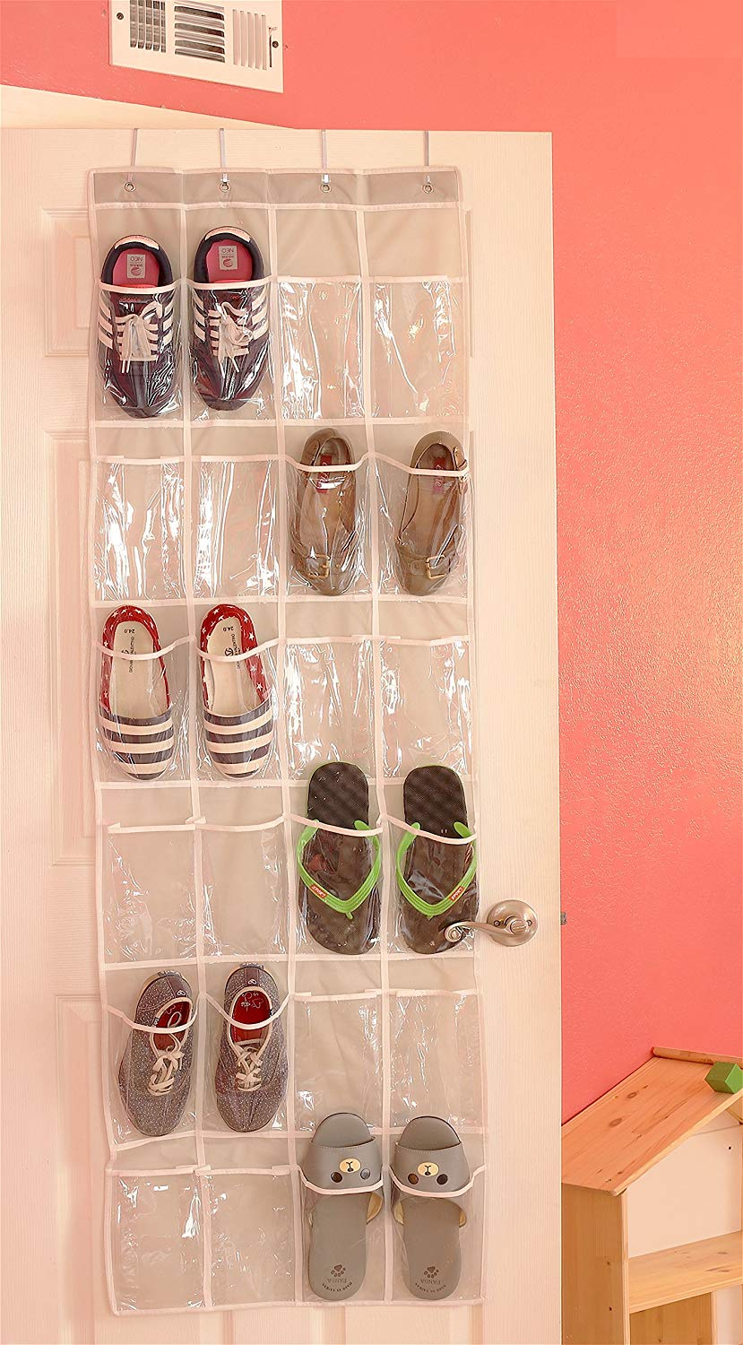 24 Pockets – Simple Houseware Crystal Clear Over the Door Hanging Shoe Organizer
