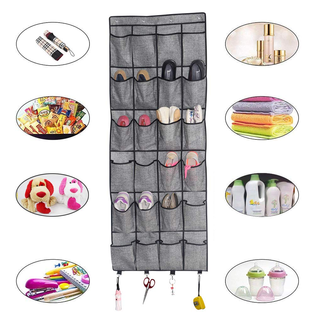 Over The Door Shoe Organizer, Hanging Shoe Holder with 24 Extra Large Fabric Pockets
