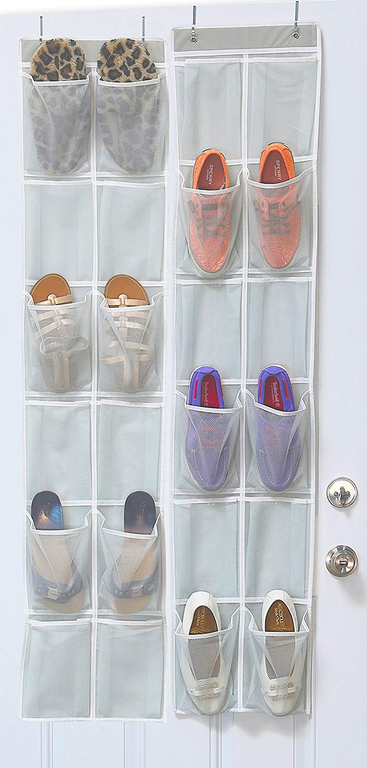 Simple Houseware 24 Pockets - 2PK 12 Large Pockets over Door Hanging Shoe Organizer