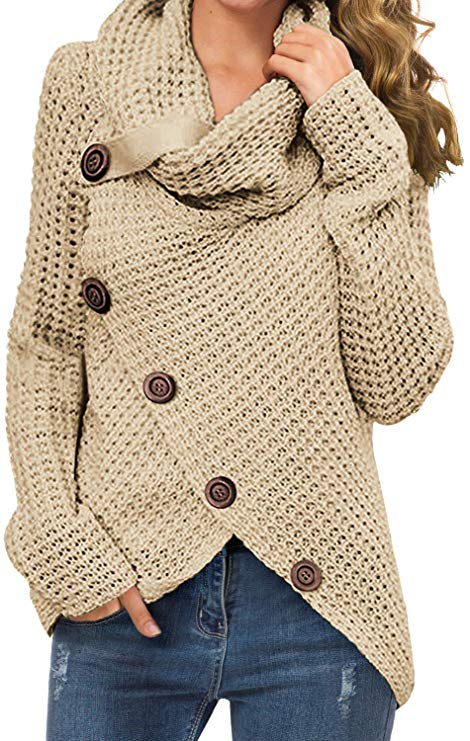 Grecerelle Women's Cowl Neck Wrap Pullover Sweater