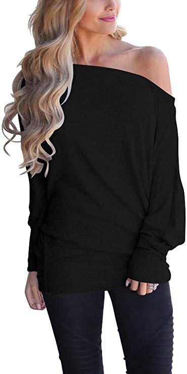 Lacozy Women's Off Shoulder Long Sleeve Tunic Sweater