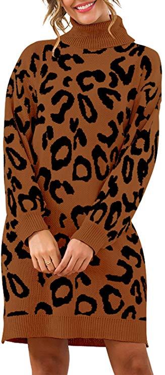 Prettygarden Leopard Print Long Sleeve Sweater Dress