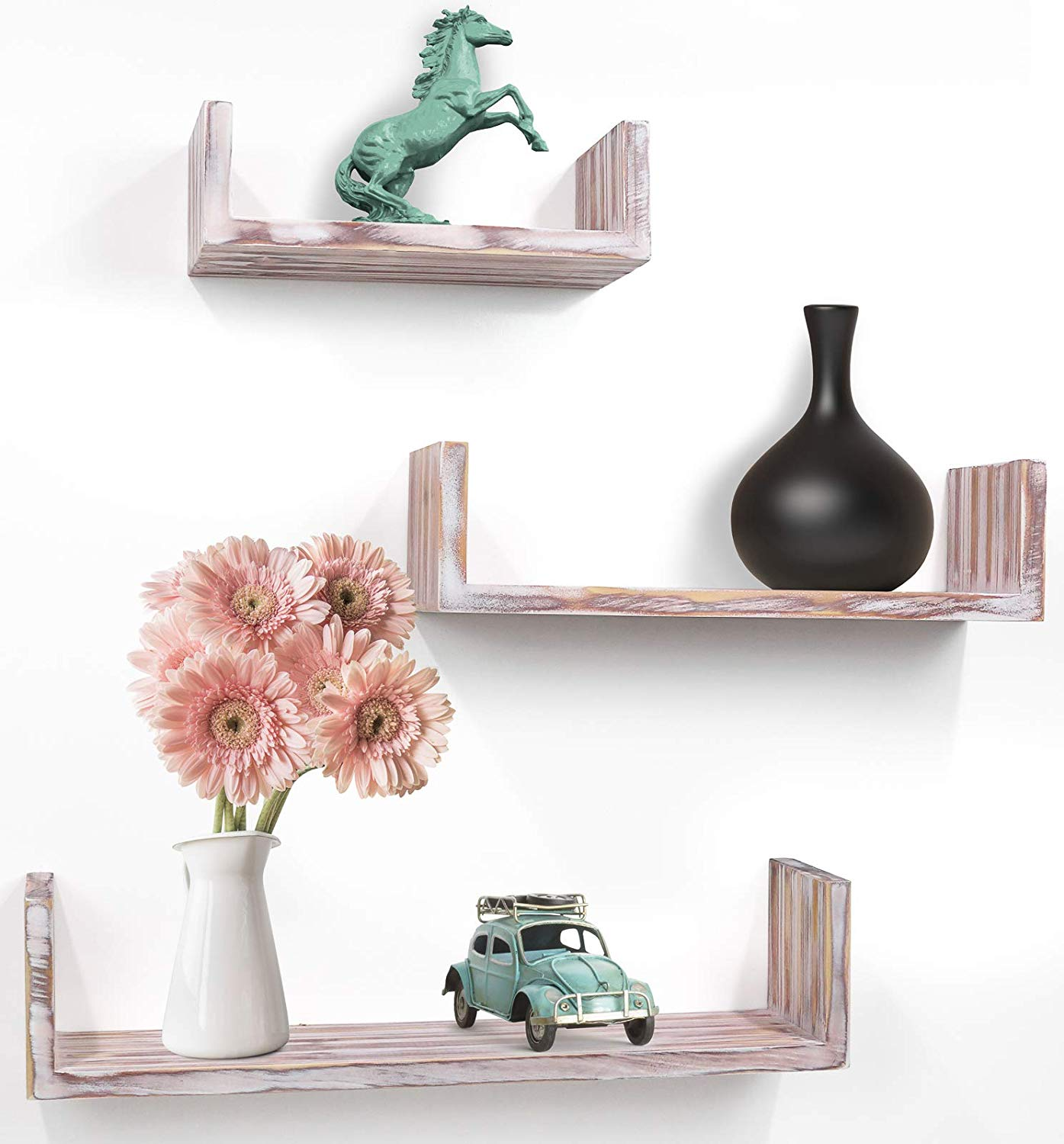 Set of 3 Rustic U Shelves by Greenco