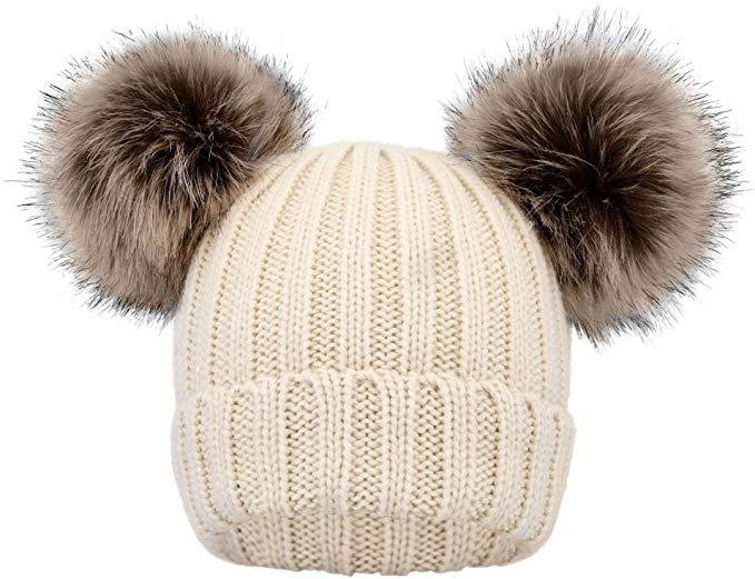 Simplicity Kids Winter Pompom Ears Knitted Beanie Hat Ski