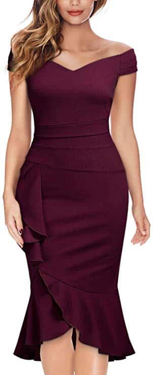 Knitee Off-shoulder Pleat Cocktail Dress