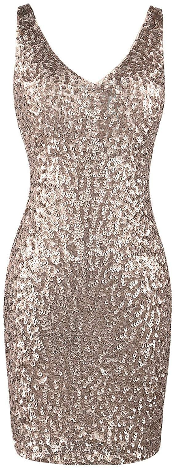 PrettyGuide Deep V Neck Glitter Bodycon Mini Dress