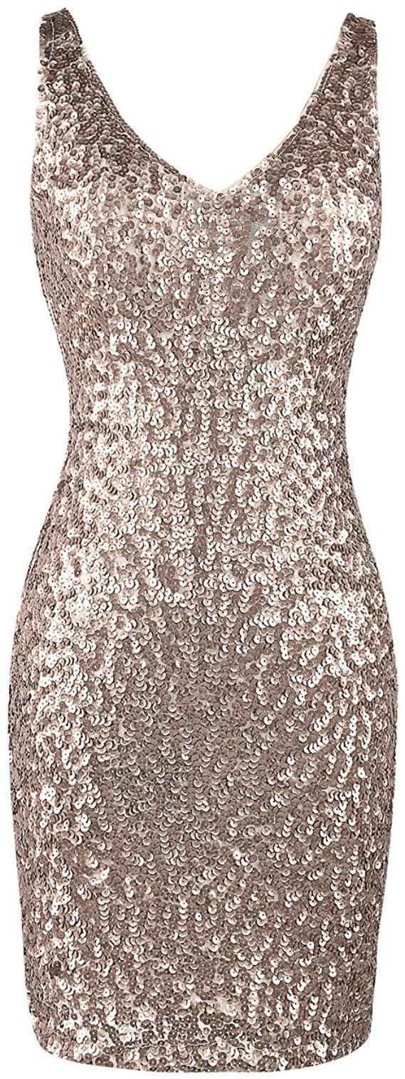 PrettyGuide Deep V Neck Glitter Bodycon Mini Dress