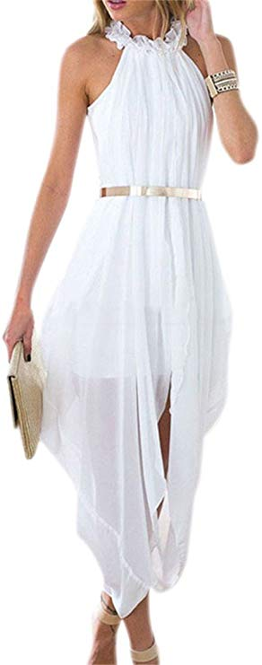 Sheer Chiffon Hi-Low Delicate Belt Dress