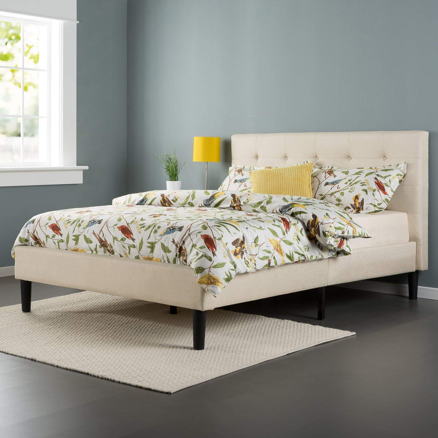 Zinus Upholstered Button Tufted Platform Bed