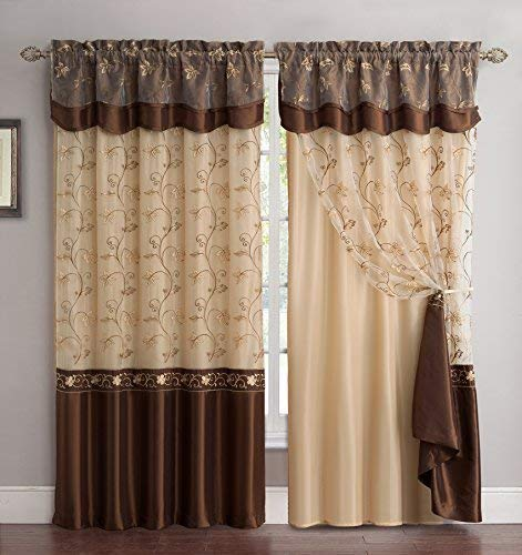 Embroidered 2-Panel Curtains by Fancy Linen LLC INC