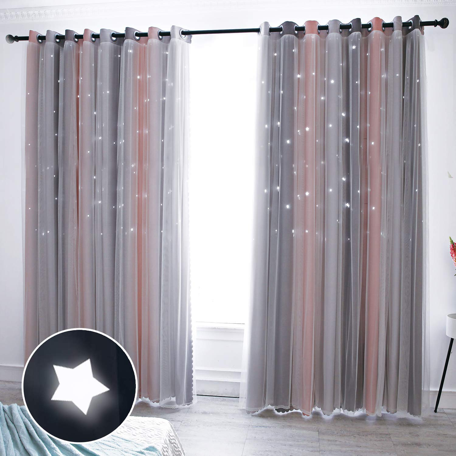 Stars Double-layer blackout curtain by Hughapy