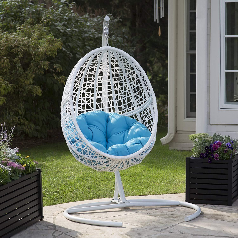 Belham Living White Resin Egg Swing Chair With Blue Cushion