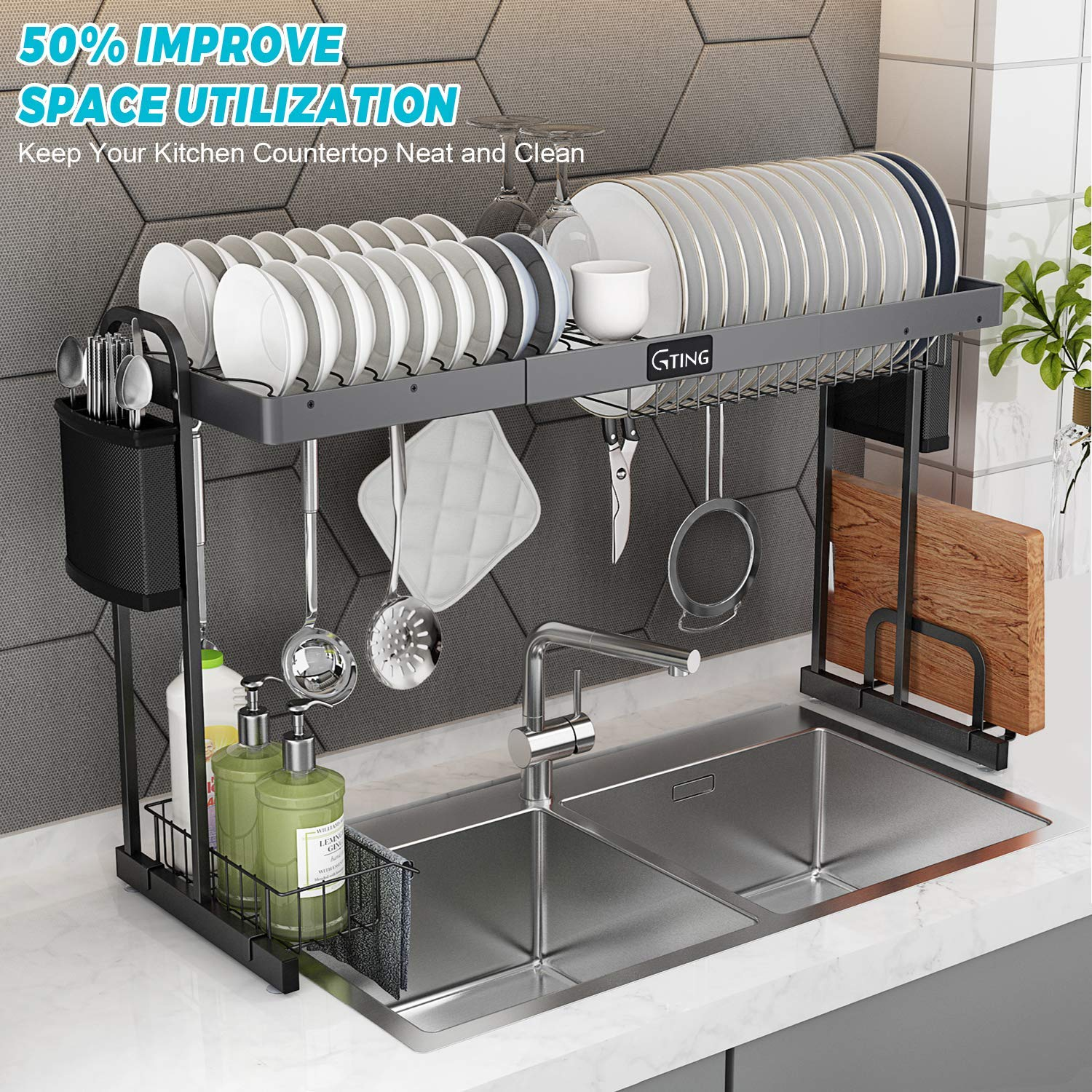 G-TING Expandable Over Sink Dish Rack