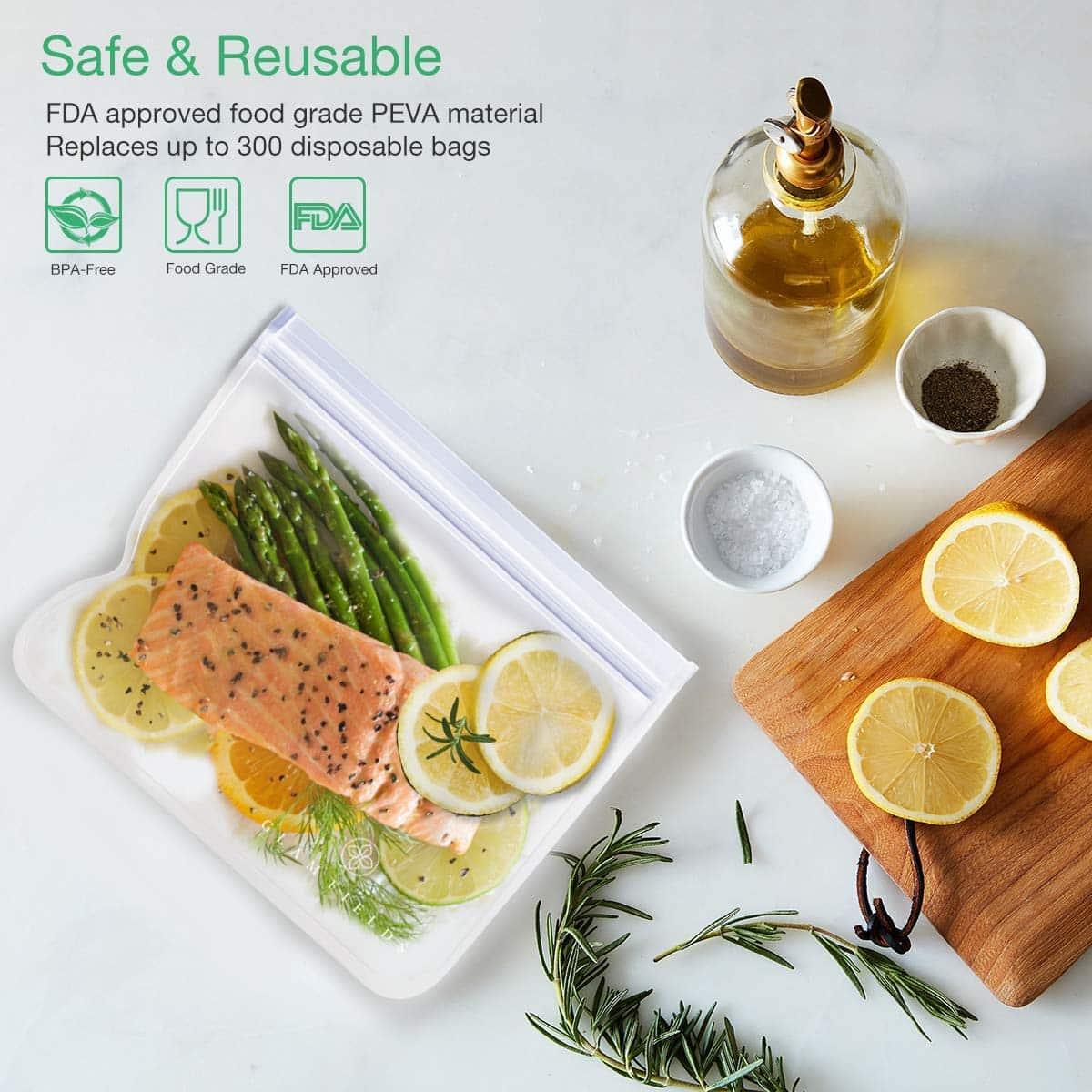 GLAMFIELDS 12 Reusable Lunch Storage Ziplock Bags
