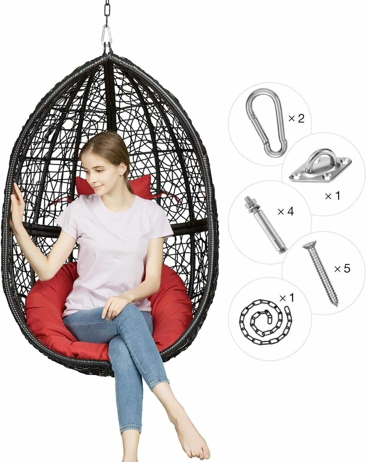 Greenstell Hanging Egg Chair With Red Cushion