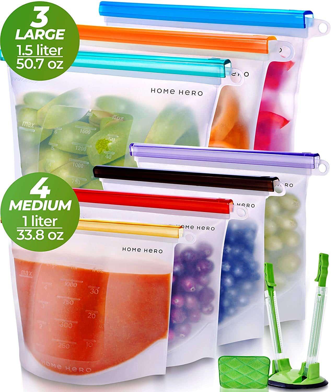 Home Hero Reusable Silicone Food Bags