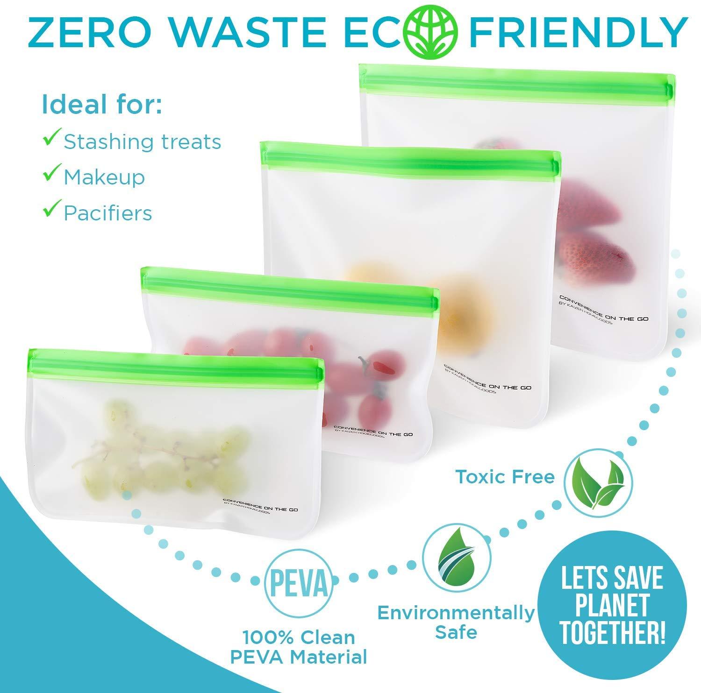 Kaizen Home Goods 8 Reusable Silicone Storage Bags