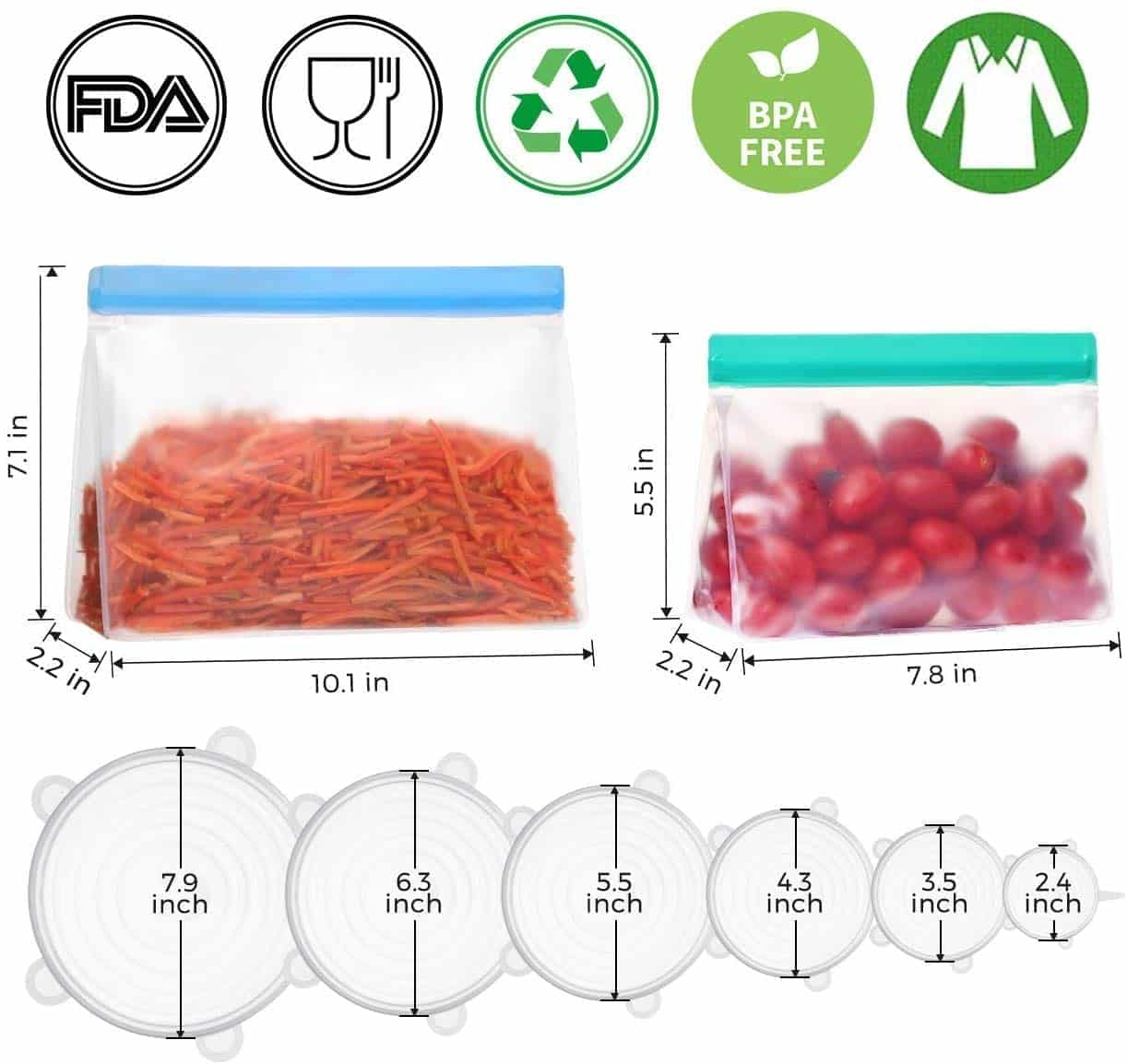 LARMHOI 16 Reusable Silicone Eco-Friendly Bags