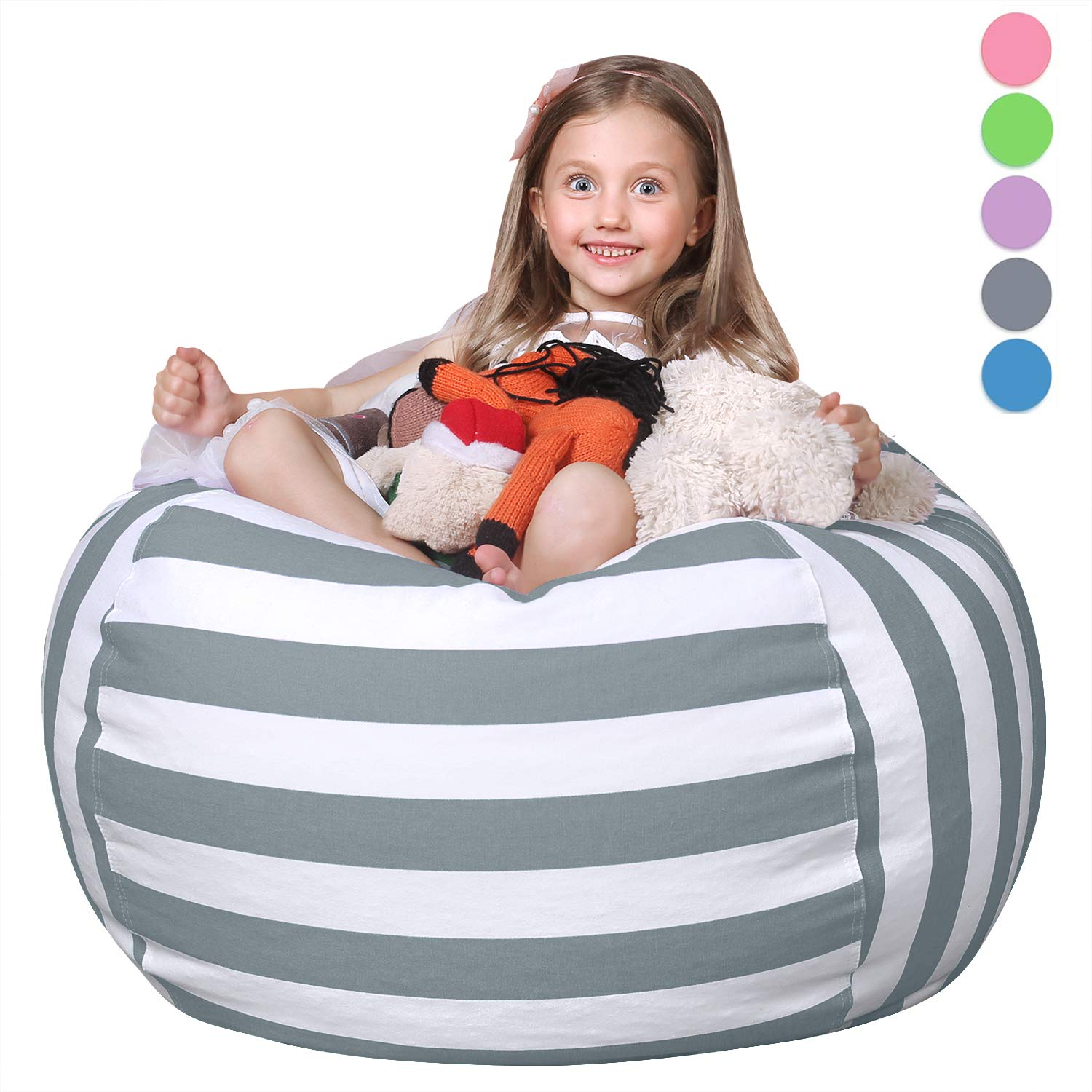 WEKAPO Animal Bean Bag Storage Chair Cover Stuffed for Kids