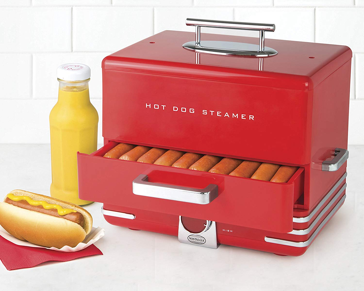 Nostalgia Extra-Large Hot Dog Steamer