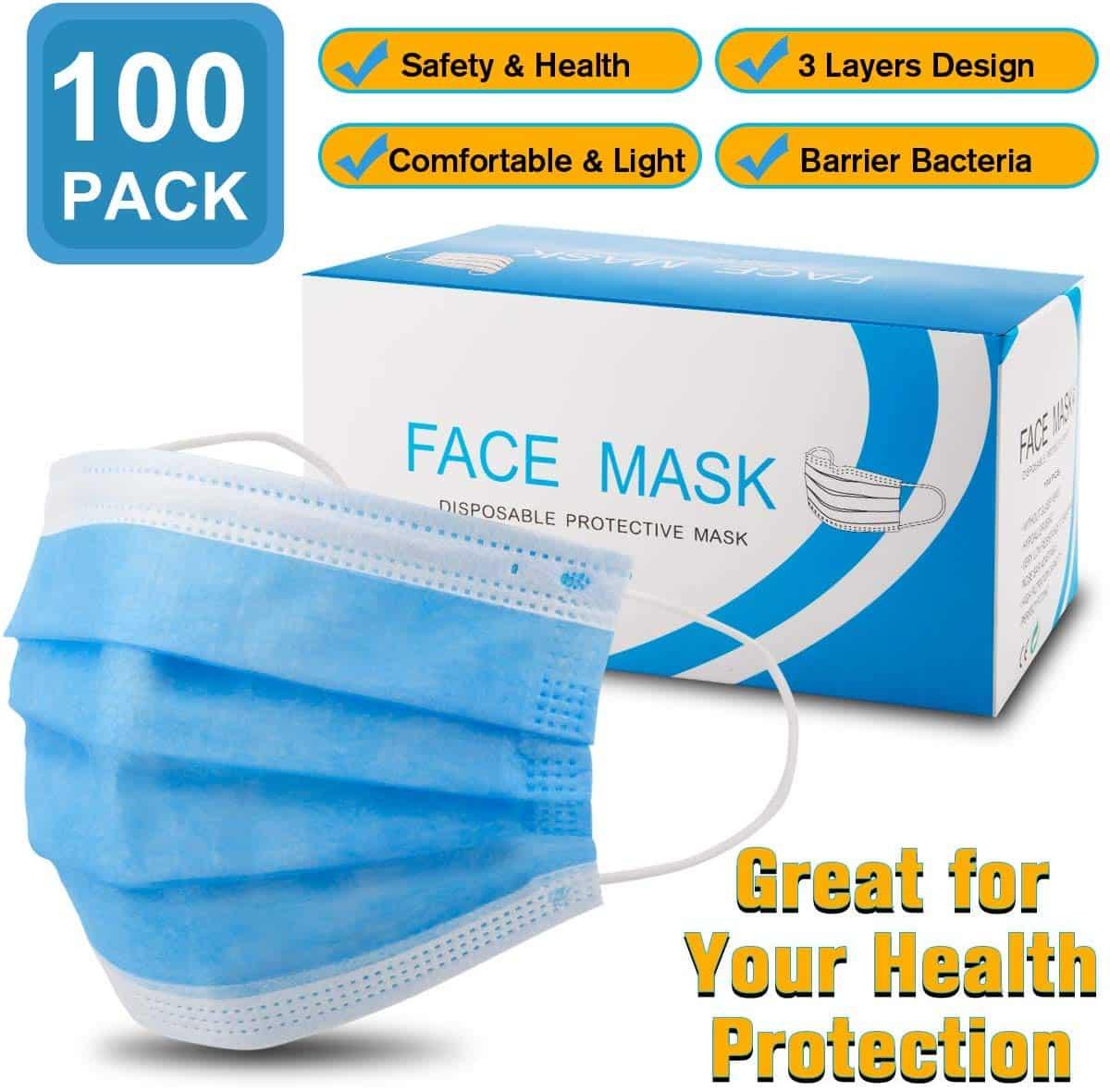100 PCS Disposable Face Masks 3-Layer Medical Masks, Anti Dust Comfortable Earloop Sanitary Masks